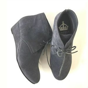 Crown Vintage Short Wave Suede Wedge Booties 7